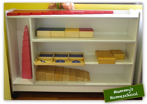Homeschool Montessori Sensorial shelf