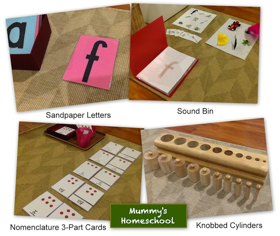 Mummy's Homeschool - Montessori sandpaper sound bin nomenclature knobbed cylinders