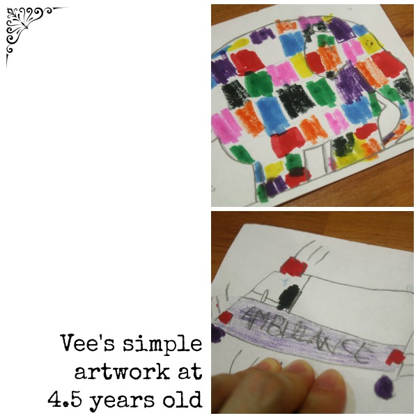 Vee 4 years 9 months old drawing colouring