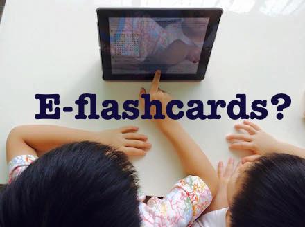children watch ipad flash cards