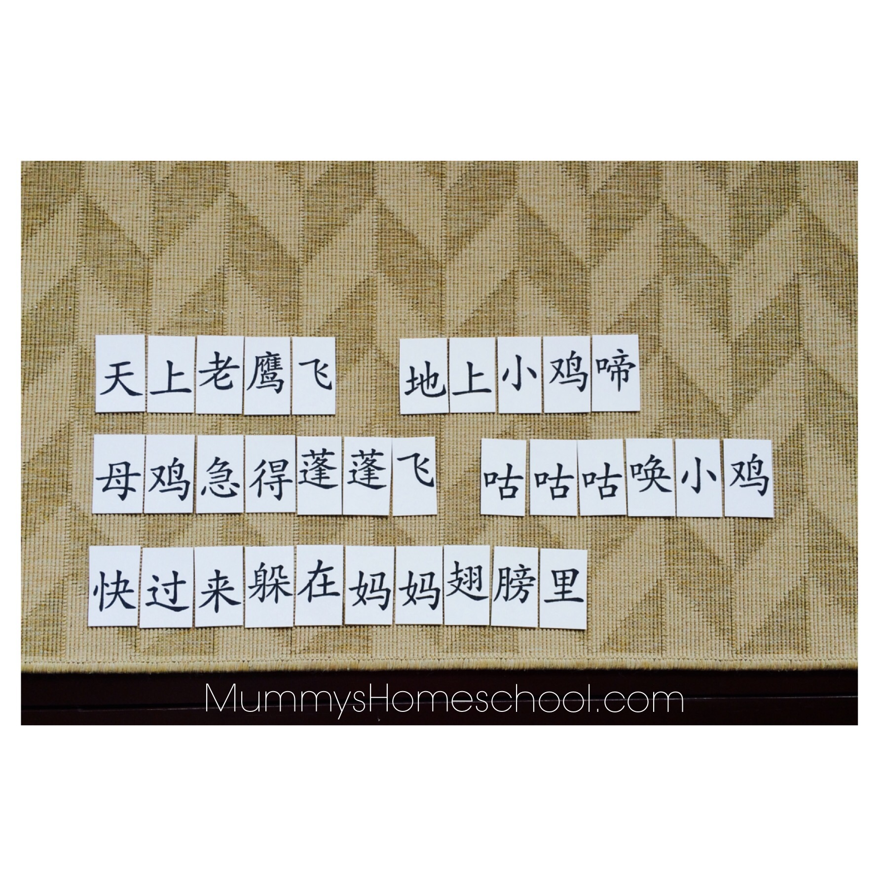 Chinese reading activities arrange word cards