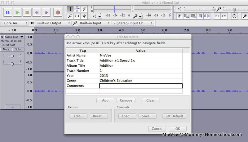 Shichida Speed Reading Audacity Screen Addition +1 Speed 1x Export