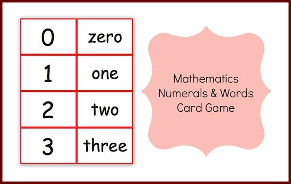 Mathematics Numbers and Words Cards Game