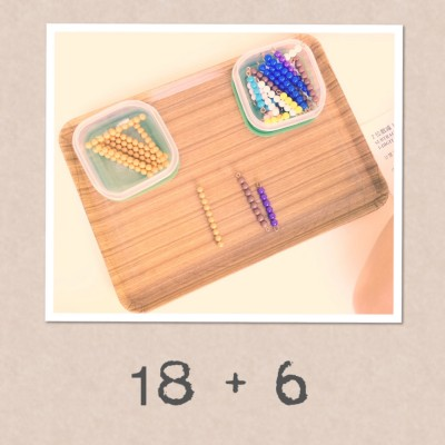 montessori math beads addition