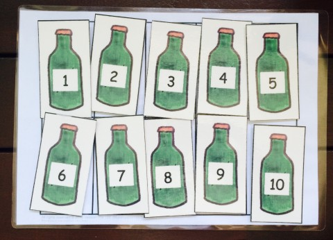 math numbers green bottles 2