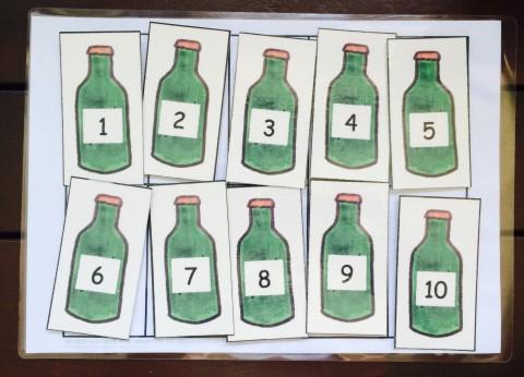 math numbers green bottles 2