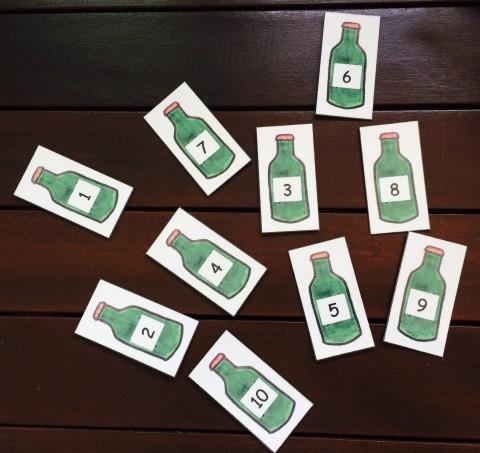 math numbers green bottles