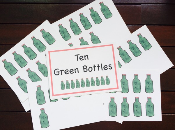 Shichida flash cards ten green bottles