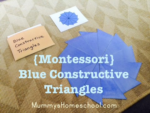 Montessori printable Blue Constructive Triangles
