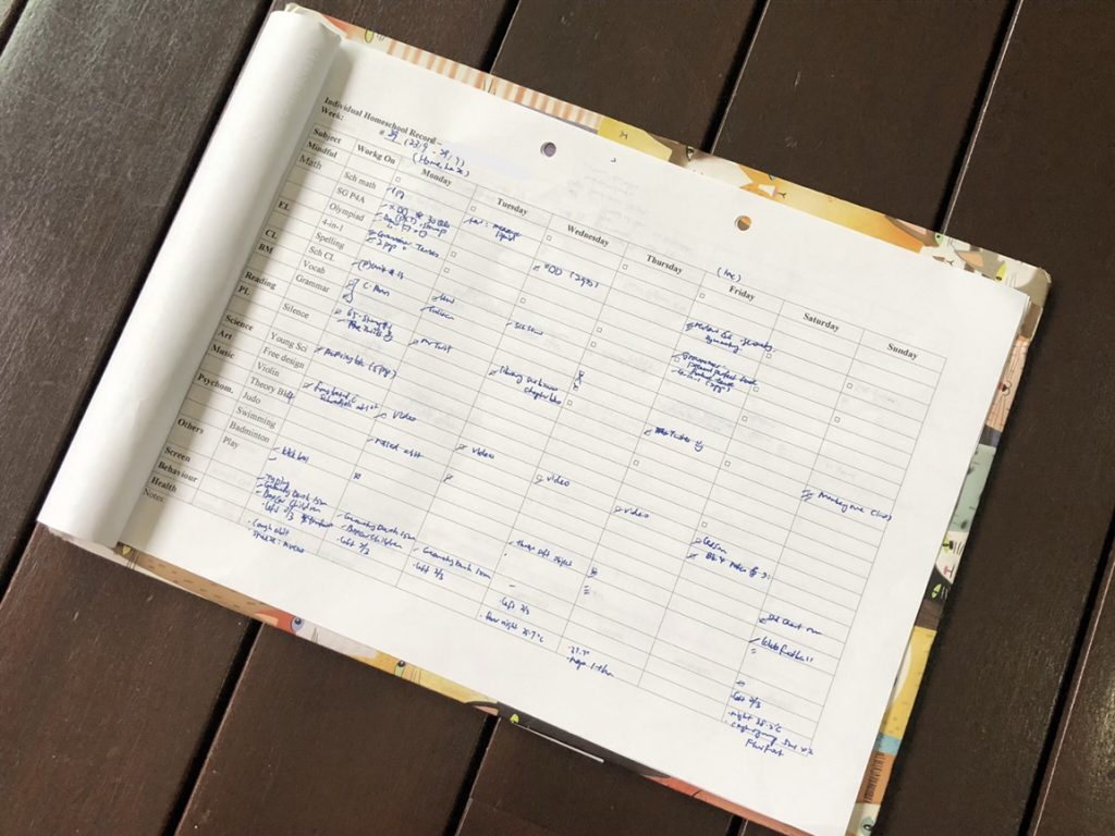 homeschool planning sheet clipboard