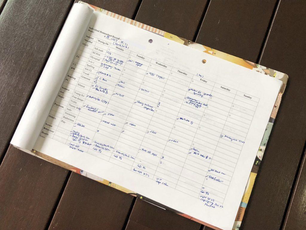 homeschool planning sheet clipboard