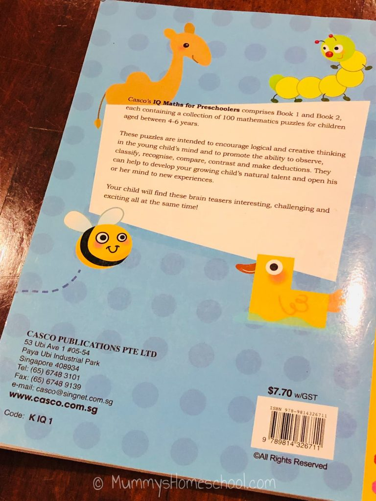 iq maths for preschoolers books back